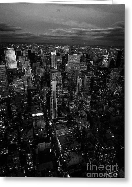 Manhatan Greeting Cards - Evening Night View Of North East Manhattan Night Views New York City Skyline Greeting Card by Joe Fox