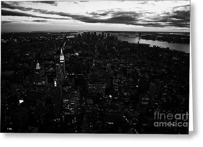 Manhatan Greeting Cards - Evening Night View Of South Manhattan And Sunset Night Falling New York City Greeting Card by Joe Fox