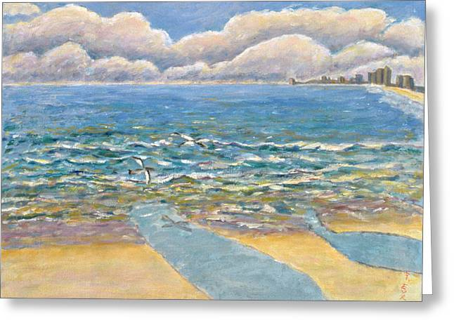 Contemporary Art Paintings Greeting Cards - Evening North Myrtle Beach Greeting Card by Patricia Eyre