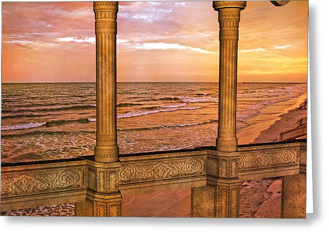 Ancient Ruins Greeting Cards - Evening Ocean  Greeting Card by Betsy A  Cutler