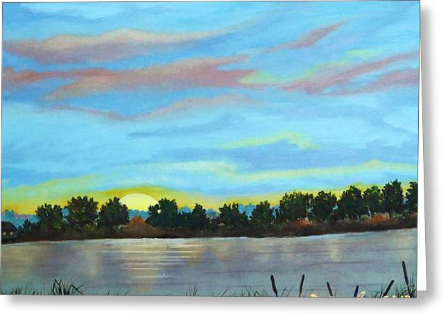 Pause Greeting Cards - Evening on Ema river Greeting Card by Misuk  Jenkins