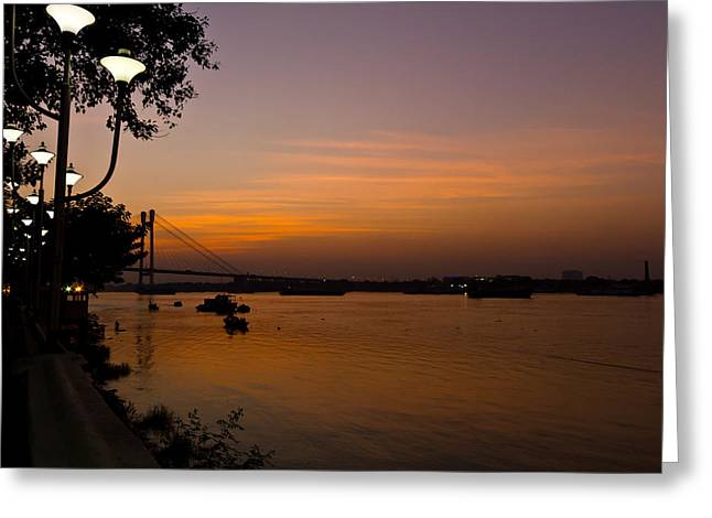 Sourav Bose Greeting Cards - Evening on Ganga Greeting Card by Sourav Bose