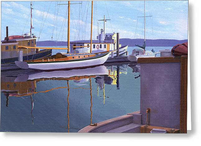 Schooner Paintings Greeting Cards - Evening on Malaspina Strait Greeting Card by Gary Giacomelli