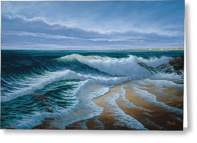 Monterey Bay Greeting Cards - Evening on Monterey Bay Greeting Card by Del Malonee