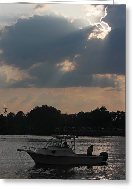 Cape Fear River Greeting Cards - Evening on the Cape Fear Greeting Card by Suzanne Gaff