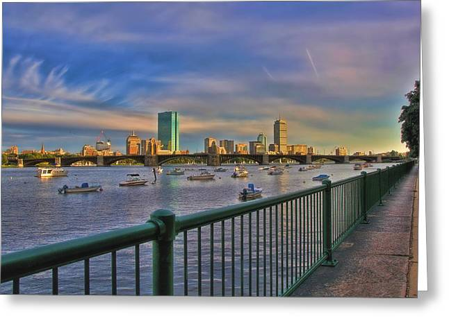 Charles River Greeting Cards - Evening on the Charles - Boston Skyline Greeting Card by Joann Vitali