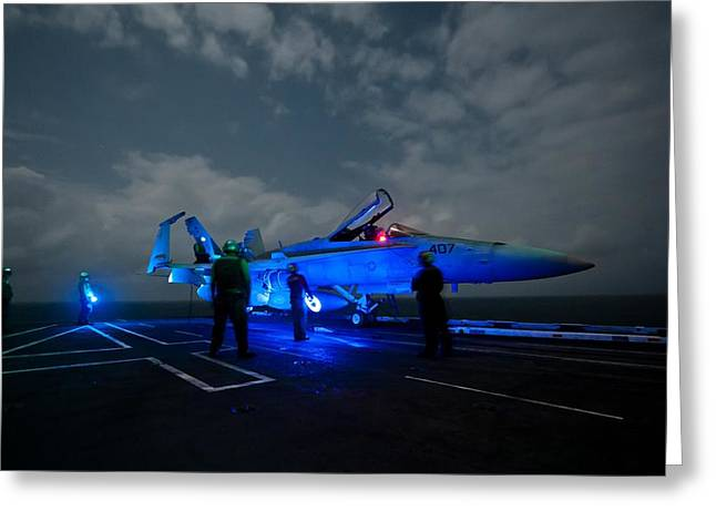 Carrier Greeting Cards - Evening on the Flight Deck Greeting Card by Mountain Dreams