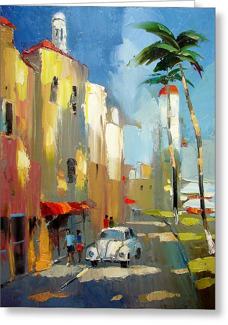 Freedom Park Paintings Greeting Cards - Evening on the Isla Mujeres Greeting Card by Dmitry Spiros