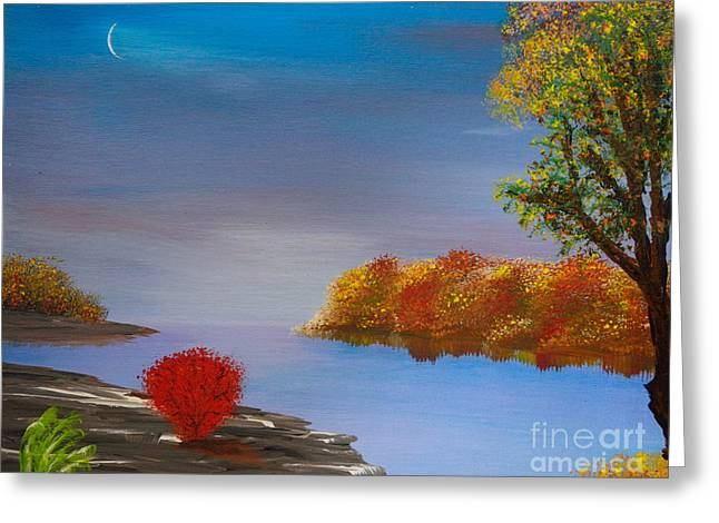 Indiana Autumn Paintings Greeting Cards - Evening On The Last Sunny Day Greeting Card by Alys Caviness-Gober