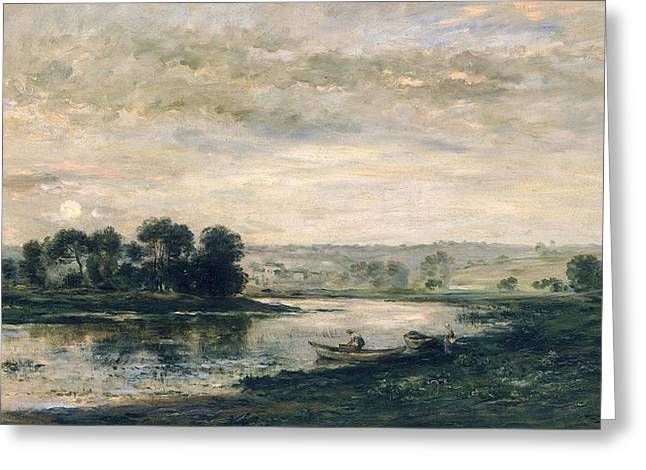 River Paintings Greeting Cards - Evening on the Oise Greeting Card by Charles Francois Daubigny