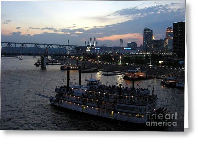 Steamboat Greeting Cards - Evening On The River 2 Greeting Card by Mel Steinhauer