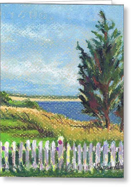 York Beach Paintings Greeting Cards - Evening Orient and Peconic Bay Greeting Card by Susan Herbst