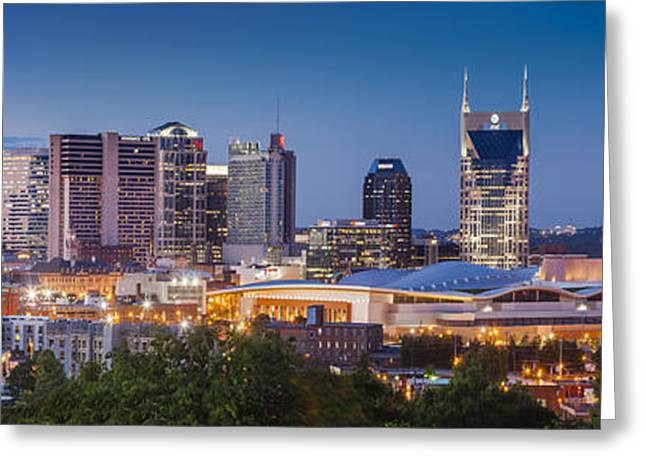 Nashville Tennessee Greeting Cards - Evening over Nashville Tennessee Greeting Card by Brian Jannsen