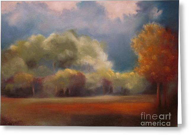 Silence Pastels Greeting Cards - Evening over the Glade Greeting Card by Sabina Haas