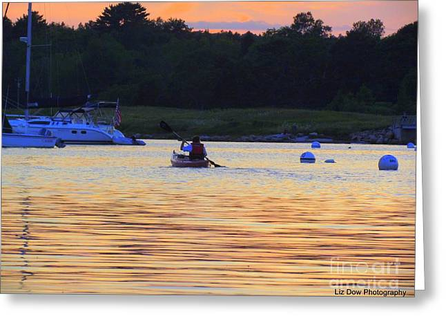 Somes Sound Greeting Cards - Evening Paddle Greeting Card by Elizabeth Dow
