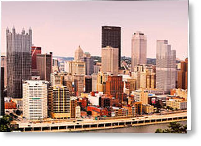 Pirates Greeting Cards - Evening Panorama of Pittsburgh Pennsylvania Greeting Card by Jan Tyler