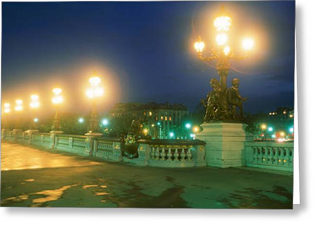 Brightly Lit Greeting Cards - Evening Paris France Greeting Card by Panoramic Images