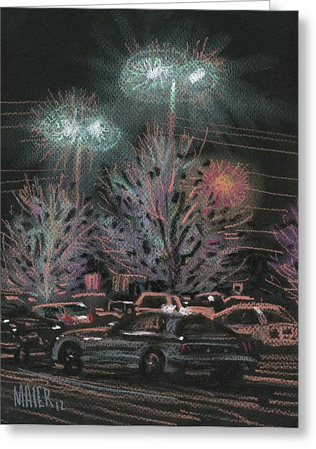 Winter Pastels Greeting Cards - Evening Parking Greeting Card by Donald Maier