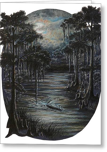 Moonlit Night Drawings Greeting Cards - Gator Evening Patrol Greeting Card by Peter E Malbrough