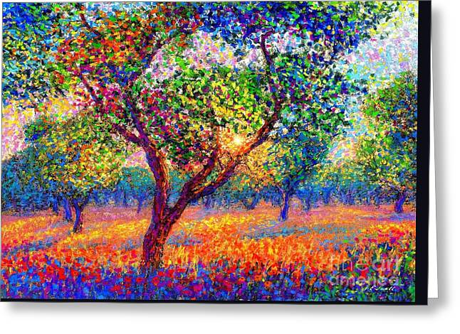 Wild Orchards Paintings Greeting Cards - Evening Poppies Greeting Card by Jane Small