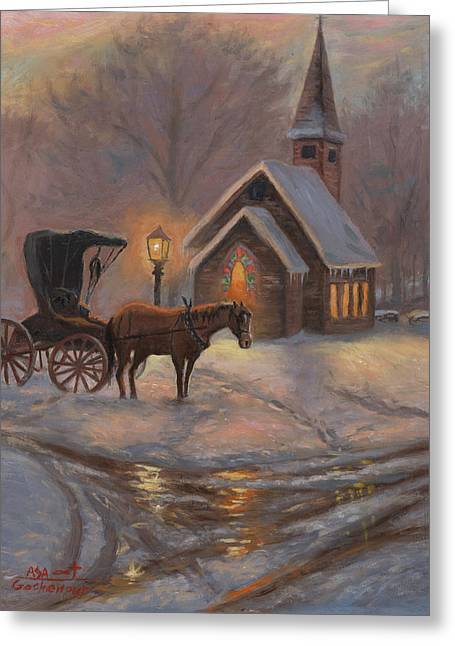 Snowy Evening Greeting Cards - Evening Prayer Greeting Card by Asa Gochenour