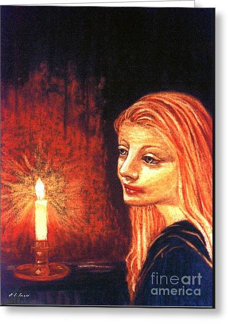Candle Lit Paintings Greeting Cards - Evening Prayer Greeting Card by Jane Small