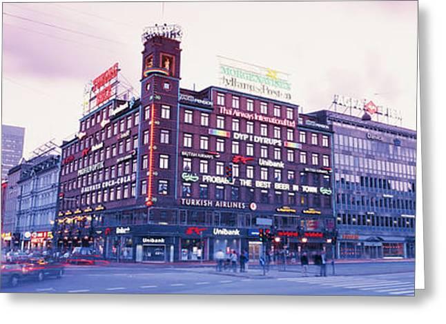 Time Exposure Greeting Cards - Evening, Radhuspladsen, Copenhagen Greeting Card by Panoramic Images