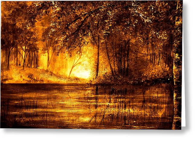 Kinkade Greeting Cards - Evening Reflections Greeting Card by Ann Marie Bone