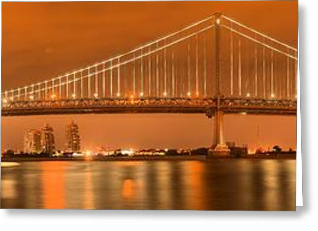 Ben Franklin Bridge Greeting Cards - Evening Reflections Of The Ben Franklin Bridge Greeting Card by Adam Jewell