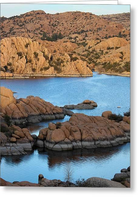 Watson Lake Greeting Cards - Evening Reflections on the Lake Greeting Card by Aaron Burrows