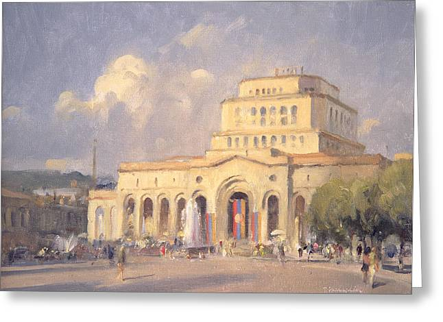 Armenian Greeting Cards - Evening, Republic Square, Yerevan Oil On Canvas Greeting Card by Trevor Chamberlain