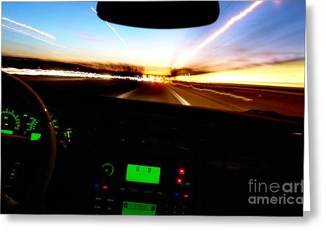 Driving Greeting Cards - Evening Ride Greeting Card by Olivier Le Queinec