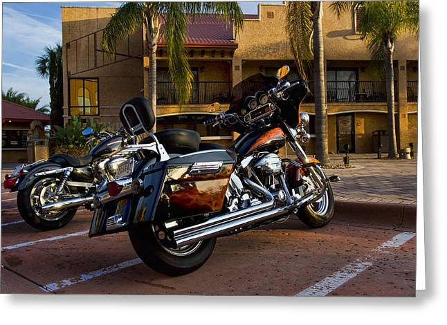Chrome Greeting Cards - Evening Riders Greeting Card by Peter Chilelli