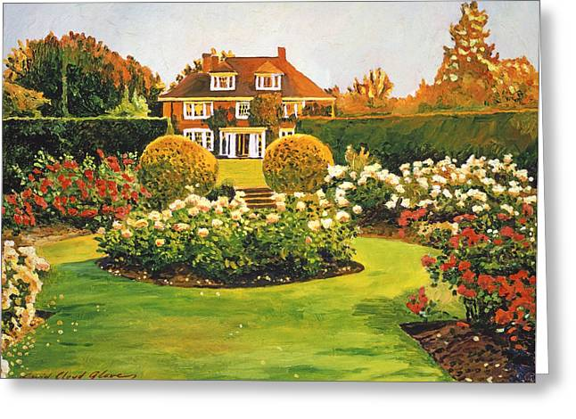 Evening Lights Greeting Cards - Evening Rose Garden Greeting Card by David Lloyd Glover