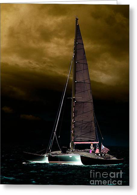 Scull Greeting Cards Greeting Cards - Evening Sail Greeting Card by Kim Peto