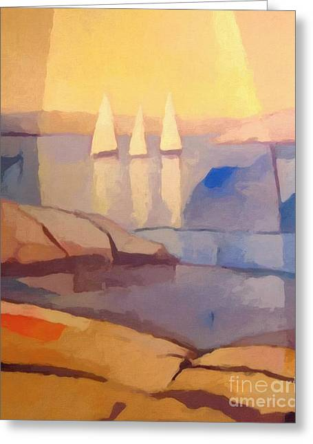 Evening Lights Greeting Cards - Evening Sails Greeting Card by Lutz Baar