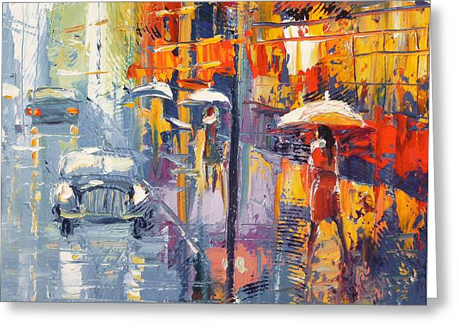 Crosswalk Paintings Greeting Cards - Evening scetch Greeting Card by Dmitry Spiros