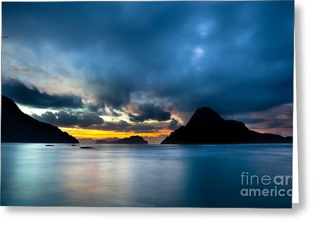 El-nido Greeting Cards - Evening seascape on El Nido Palawan Philippines Greeting Card by Fototrav Print