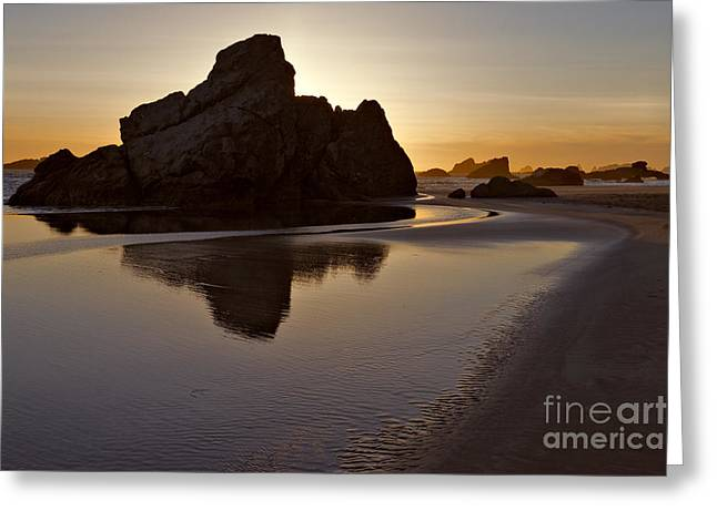 Monolith Greeting Cards - Evening Serenity - Oregon Greeting Card by Sandra Bronstein