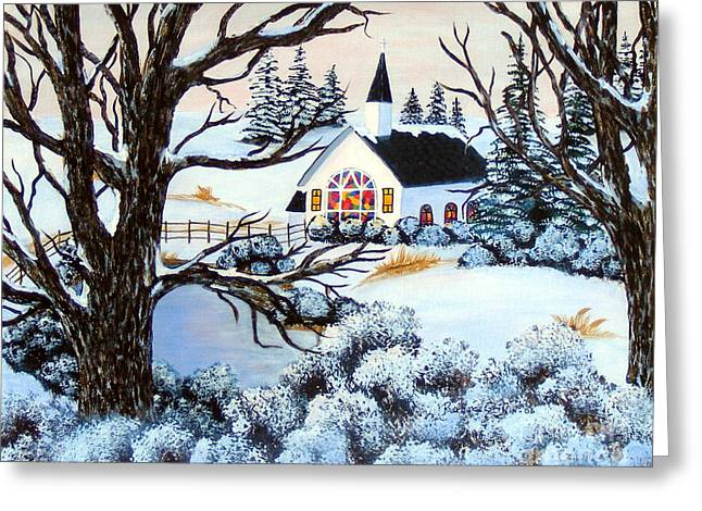 Christmas Eve Greeting Cards - Evening Services Greeting Card by Barbara Griffin