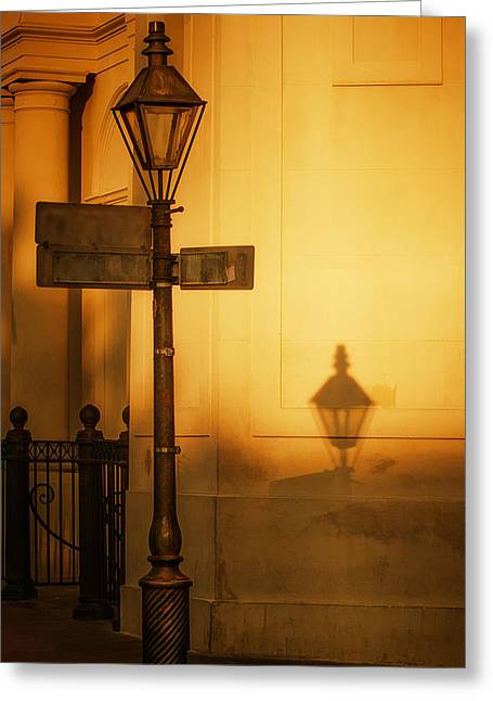 Brenda Bryant Photographs Greeting Cards - Evening Shadow in Jackson Square Greeting Card by Brenda Bryant