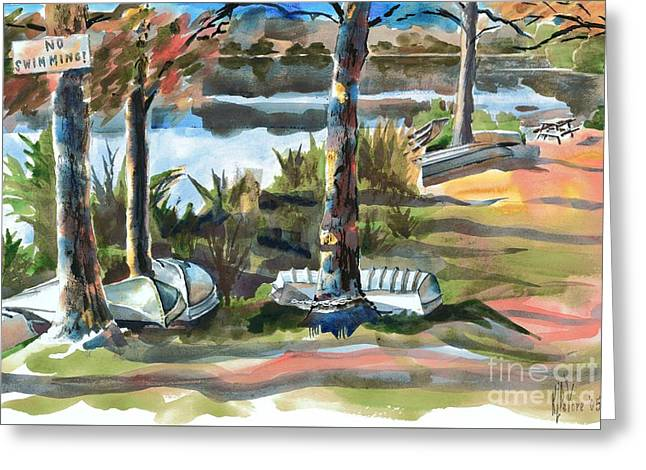 Bass Fish Mixed Media Greeting Cards - Evening Shadows at Shepherd Mountain Lake  No W101 Greeting Card by Kip DeVore