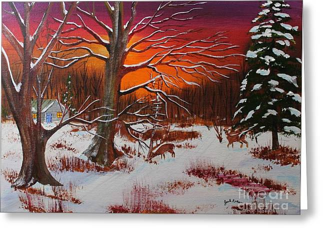 Deer Camp Greeting Cards - Evening Shadows Greeting Card by Jack G  Brauer