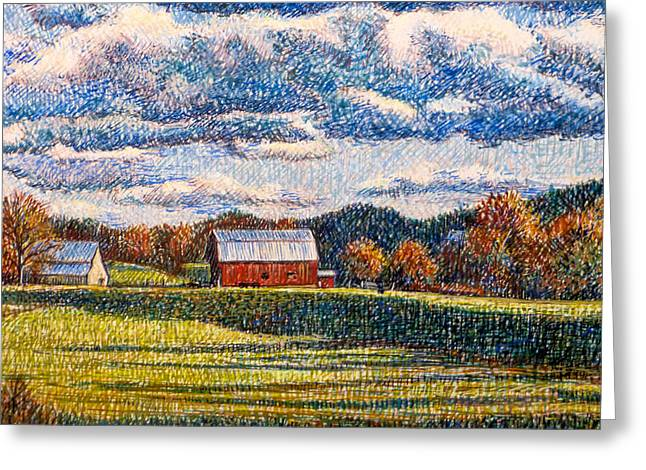 Egg Tempera Paintings Greeting Cards - Evening Shadows Greeting Card by Jeff and Kathy Howsare Pearl