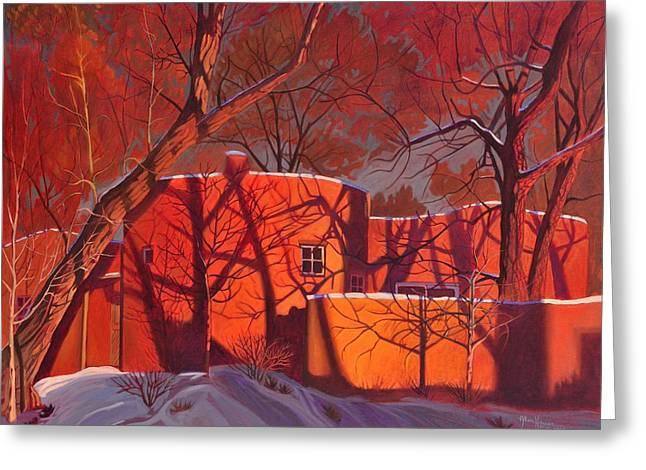 Evening Lights Paintings Greeting Cards - Evening Shadows on a Round Taos House Greeting Card by Art James West