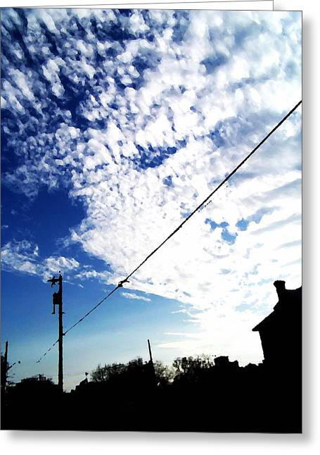 White Digital Greeting Cards - Evening Sky Above Ogden Street Greeting Card by Brook Freeman