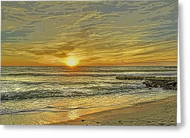 Beach Photography Greeting Cards - Evening Sky Greeting Card by HH Photography