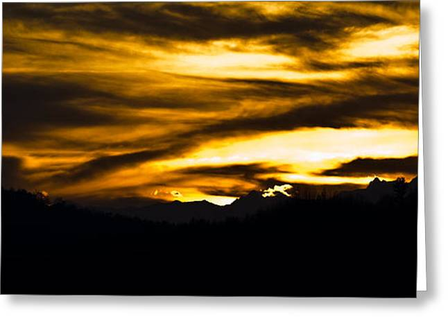 Warm Pyrography Greeting Cards - Evening Sky Greeting Card by Michael  Bjerg