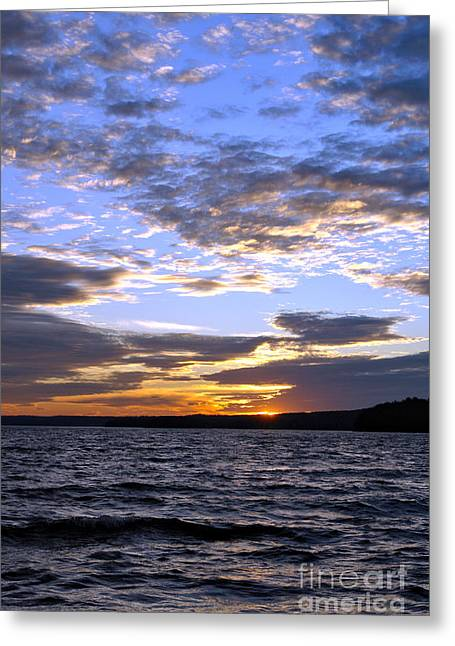 Spectacular Greeting Cards - Evening Sky over Lake Greeting Card by Olivier Le Queinec