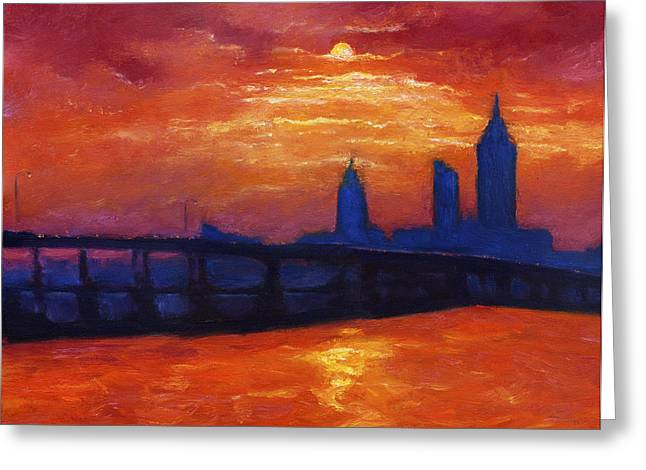 Silhoette Greeting Cards - Evening Skyline Mobile Greeting Card by Vernon Reinike
